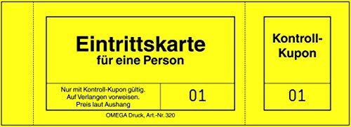 Omega Druck Eintrittskarten mit Unterlage, 14 x 5 cm, 100 Einzelkarten, chamois